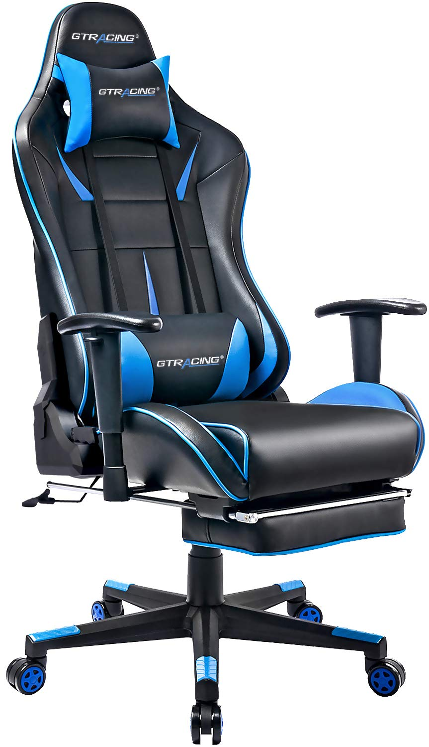 GTRACING Gaming Chair with Speakers【Patented】 Bluetooth Audio Racing Chair Heavy Duty Ergonomic Multi-Function E-Sports Chair for Pro Gamer GT899 Blue