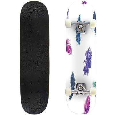 31 inch Skateboard vector watercolor feather seamless pattern in blue purple and green Complete Longboard Standard Skate board Double Kick Tricks Skateboards for Kids Boys Girls Youths Beginners : Sports & Outdoors