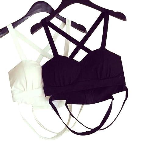 4b8c83bfc48 Tidecc Women s Bandage Bustier Cross Bralet Bra Bustier Bra Crop Top Tank  Tops Corset Clubwear (Black)  Amazon.co.uk  Clothing