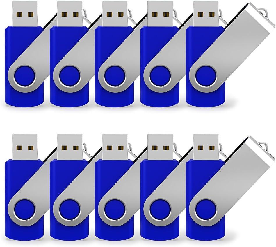 JUANWE 10 Pack Flash Drive 4GB USB 2.0 Flash Drive Swivel Design Thumb Drive Jump Drive with LED Indicative USB Stick Fold Storage Memory Stick, Blue