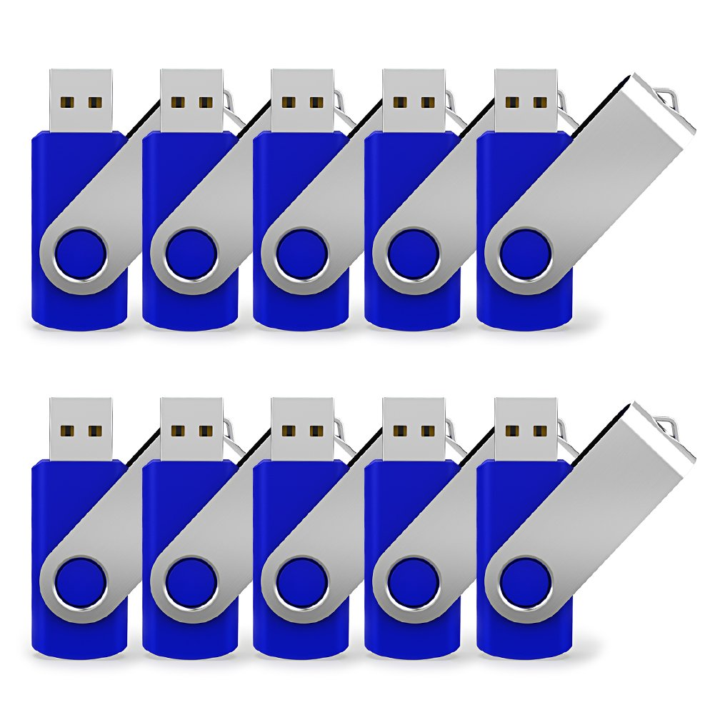JUANWE 10 Pack 32GB USB Flash Drive USB 2.0 Thumb Drives Jump Drive Fold Storage Memory Stick Swivel Design - Blue