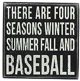 Primitives by Kathy Square Box Sign, 6-Inch, Baseball