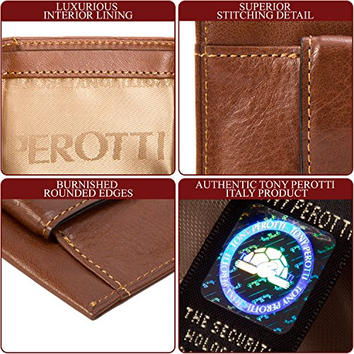 with Cognac Card Slots Tension Cow Clip Mens Perotti Leather Money Wallet Tony Italian Credit Spring O1cv6qfwfS