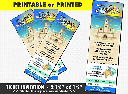 Sandcastle Beach Party Birthday Ticket Invitation, Printable or Printed Option