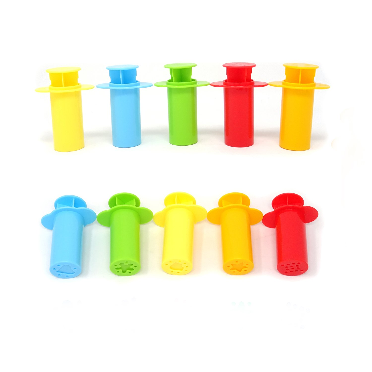 Honbay 10PCS Bright Color Clay Dough Extruders for Kids, 5 Different pattern 4336842450