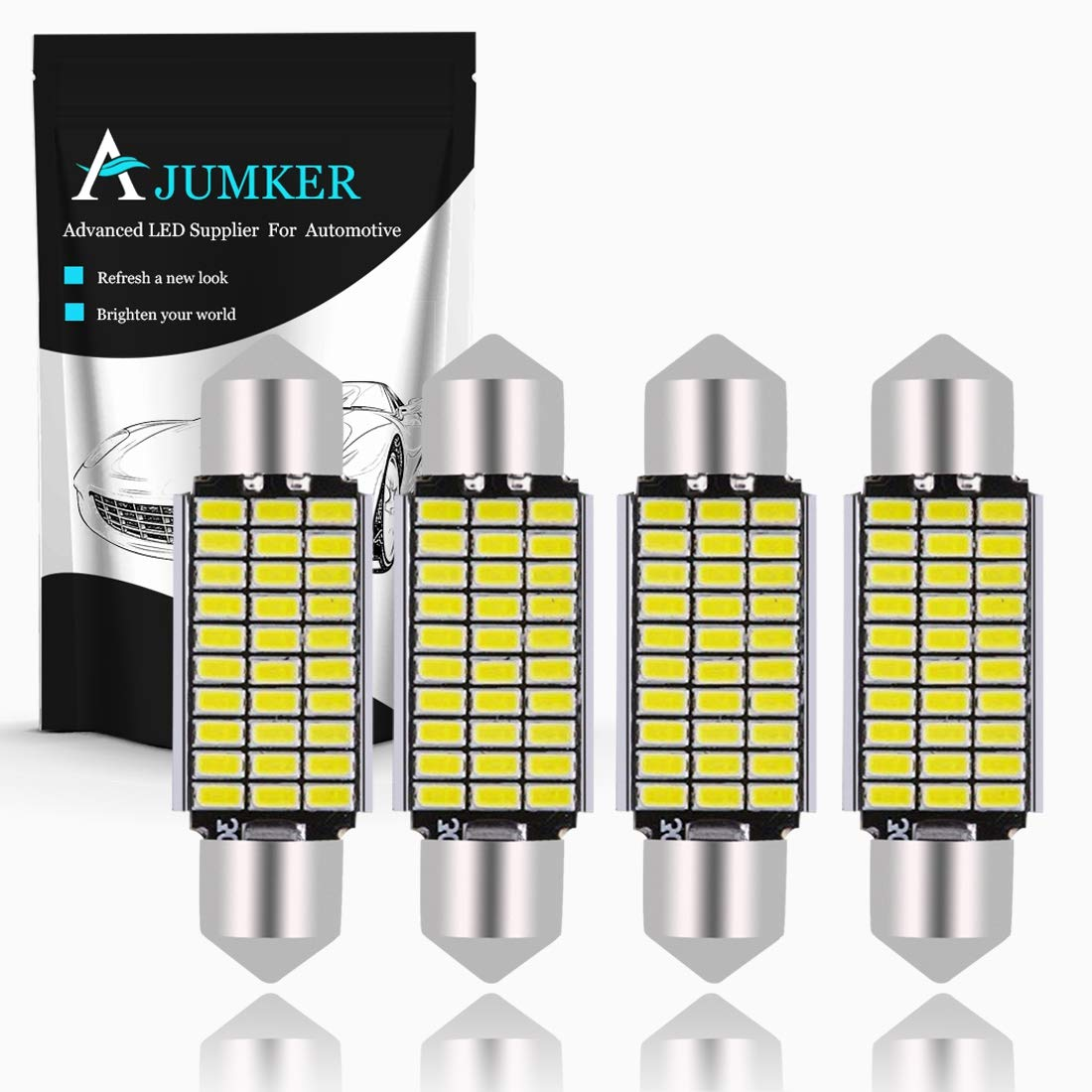 Pack of 10 TUINCYN 42MM Super Bright Chipsets Aluminum CanBus Error Free LED Bulb Xenon White 5630-12SMD DE3175 DE3021 DE3022 6428 7065 Car Interior Door Map Dome LED Lights 12V