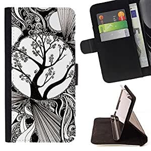 Momo Phone Case / Flip Funda de Cuero Case Cover - White Art Blossoming Tree - LG G4 Stylus H540