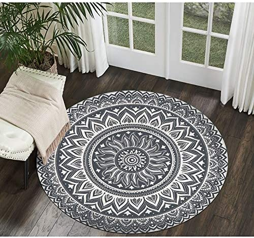 LEEVAN Modern Flannel Microfiber Non-Slip Machine Washable Round Area Rug Living Room Bedroom Study Soft Carpet Floor Mat Home Decor 3-Feet Diameter