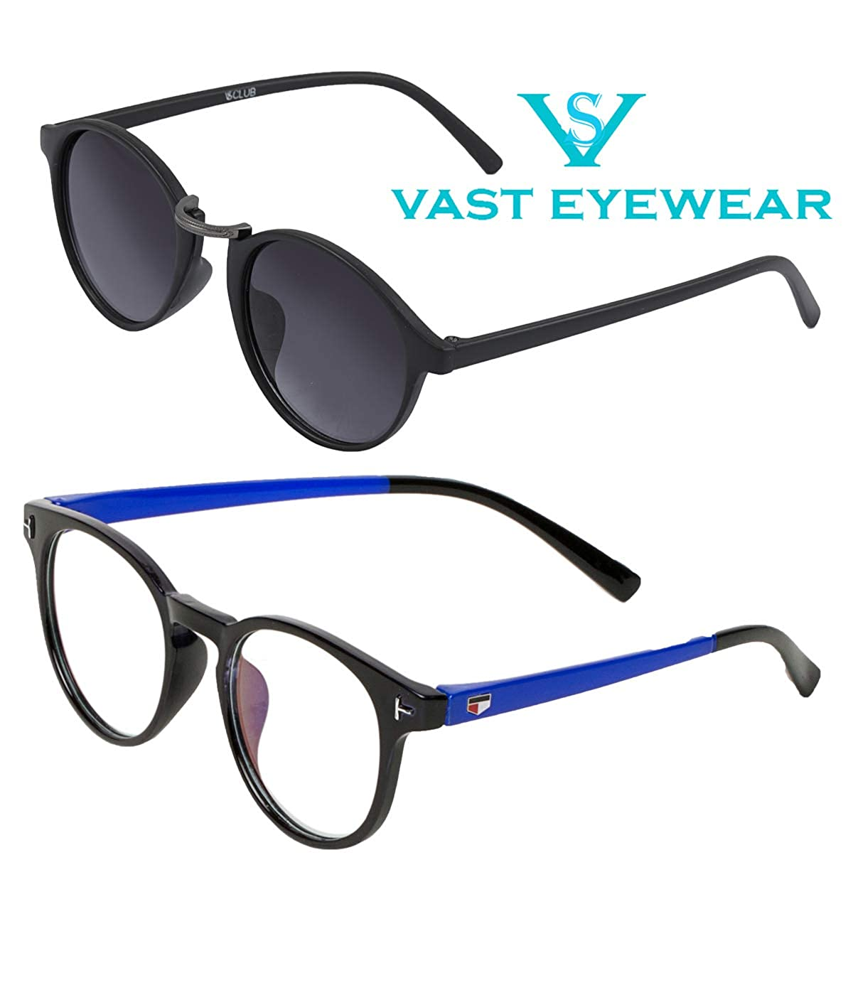 ed79f1e733 Vast Combo Of 2 UV Protection Full Rim Spectacle Frame And Double SHADED  Retro Round Unisex Sunglasses (BLKBLUE BLKGUN)  Amazon.in  Clothing    Accessories