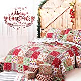 Bedsure Christmas Bedding Quilts Set Decoration Printed Bedspread King Size 106x96 Patchwork Coverlet Ideas for Kids Red Green and White Home Decor