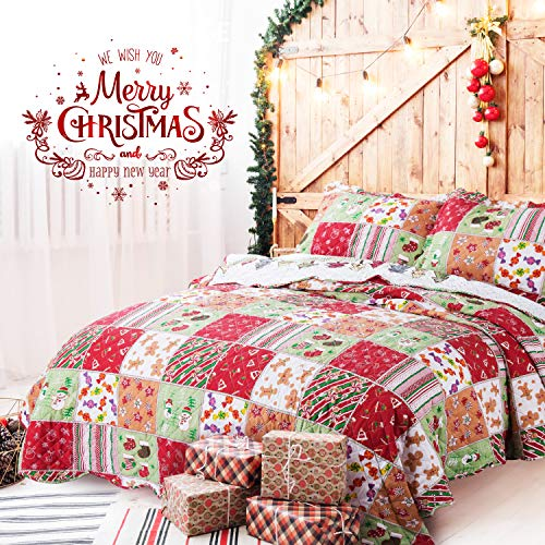 Bedsure Christmas Bedding Quilts Set Decoration Printed Bedspread King Size 106x96 Patchwork Coverlet Ideas for Kids Red Green and White Home Decor Black Friday & Cyber Monday 2018