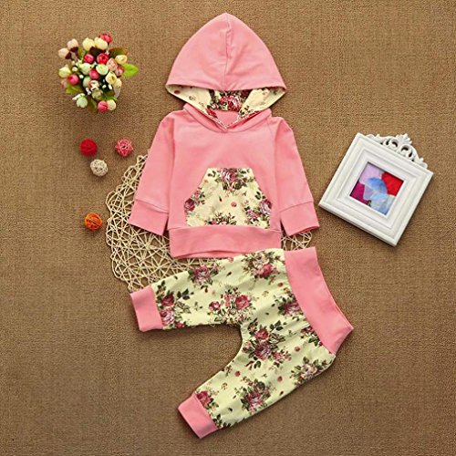 Jchen(TM)2pcs Toddler Baby Boys Girls Floral Print Hoodie Long Sleeve Tops+Pants Clothes Set Outfits (Age: 0-6 Months) by Jchen Baby Sets (Image #2)