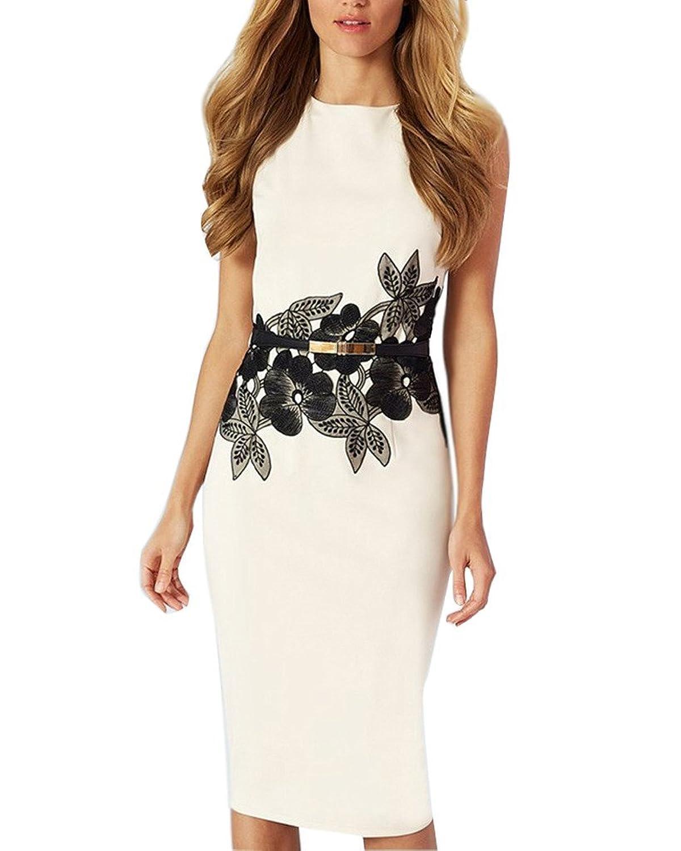 Minetom Damen Elegant Ärmellos Schößchen Blumen Business Kleid Abendkleid Cocktailkleid Mini Bleistift Kleid mit Gürtel