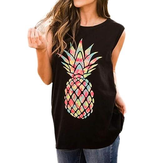 DMZing - Camiseta de Tirantes para Mujer, diseño de piña, Sexy ...