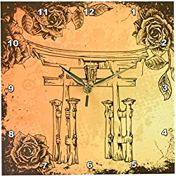 3dRose dpp_116374_1 Japanese Style Gate with Vintage Faux Etches Roses Oriental Asian Inspired Art Gift Wall Clock, 10 by 10-Inch