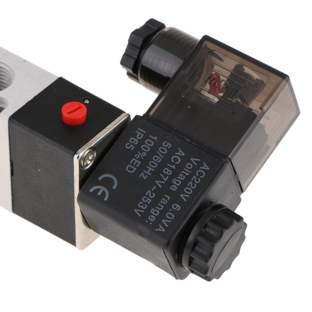 220 v MagiDeal Pneumatikventil Pneumatische Magnetventil PT 1//4 Luftventil 4V210-08 DC 5-Wege 2 Position