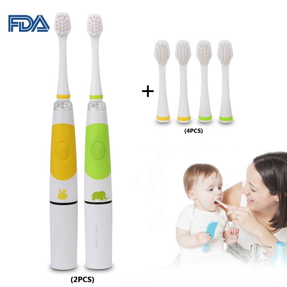 Kids Sonic Electric Toothbrush, 2Pcs Smart Toothbrush with LED Lights & 2 Replacement Brush Heads for 2-5Years Baby Toddler Children
