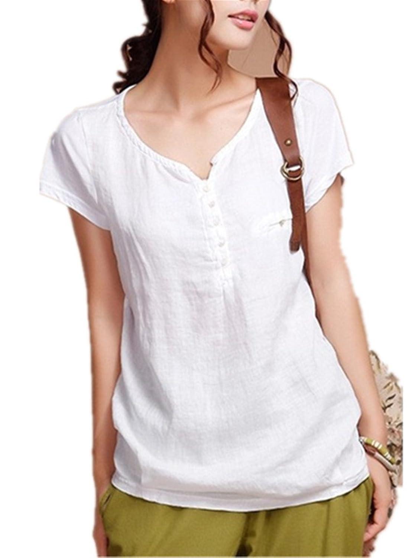 1932a3022adb8 chic Sarriben Womens Summer Soft Casual Short Sleeve Linen Shirts Blouse  Tops V Neck