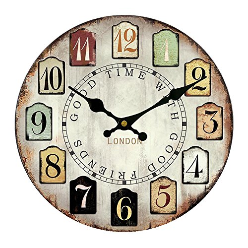Cloud RackWooden Round Wall Clock A 16 Inches A16