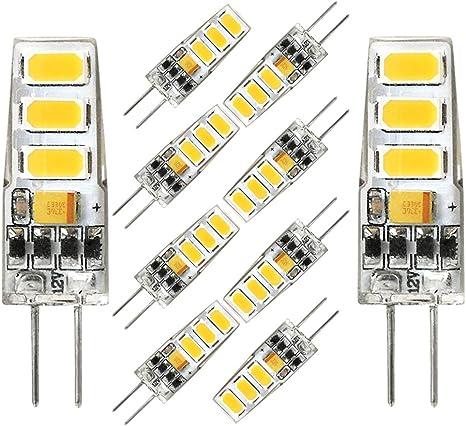 G4 LED Bulb Dimmable 3W Equivalent to 20W T3 JC Type G4 Halogen Bulb Bi-Pin G4 Base 10 Pack AC//DC 12V Warm White 3000K G4 Light Bulb