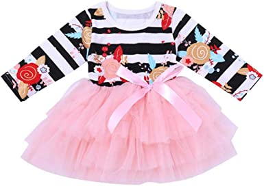 Lavany Baby Dress,Toddler Girls Clothes Long Sleeve Flower Party Princess Dress Skirt