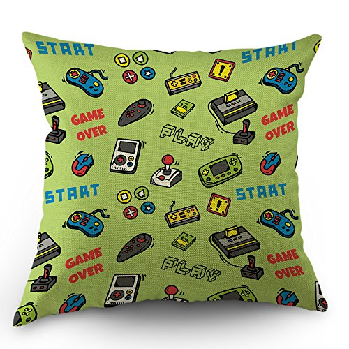 Case Covers Video Game (Moslion Game Pillow Cover Vintage Video Games Throw Pillow Case 18x18 Inch Cotton Linen Toddler PillowSquare Cushion Decorative Cover for Sofa Bedroom Green)