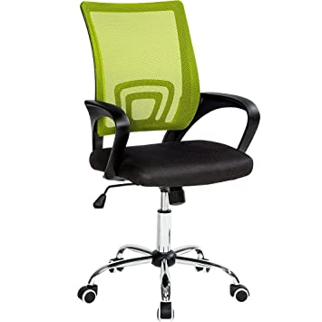 TecTake Silla de Oficina giratoria con Soporte Lumbar sillón Ejecutivo Silla de Escritorio tejid - Disponible en Diferentes Colores - (Negro Verde | ...