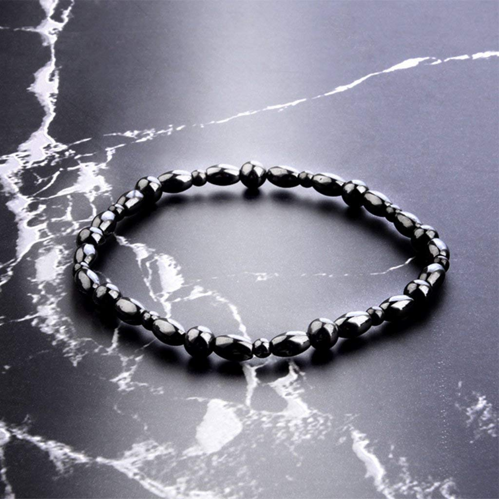 Women Men Magnetic Anklet Hematite Stone Ankle Bracelet, Health Care Black Therapy Jewelry (1PC) by Lottoy (Image #3)