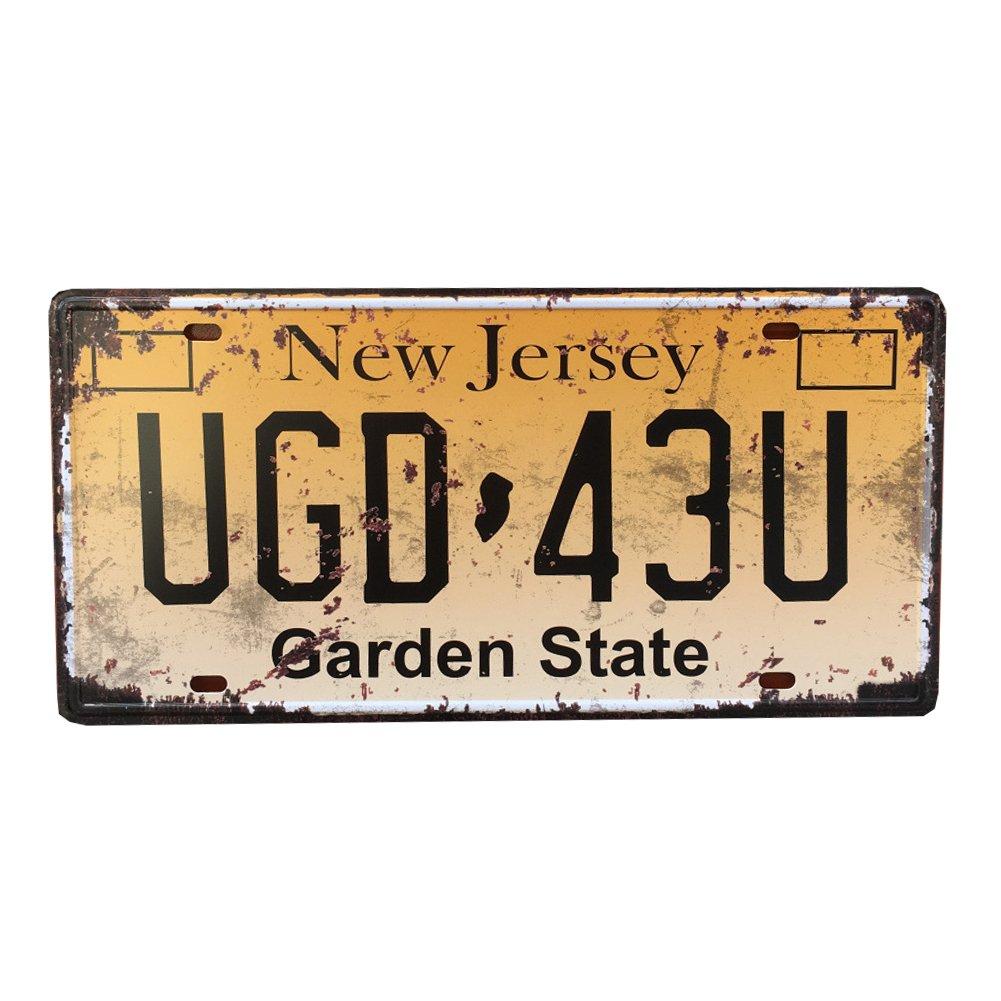 Eureya UGD 43U Placa de matrí cula para el coche, diseñ o vintage de jardí n de 15,2 x 30,4 cm diseño vintage de jardín de 15