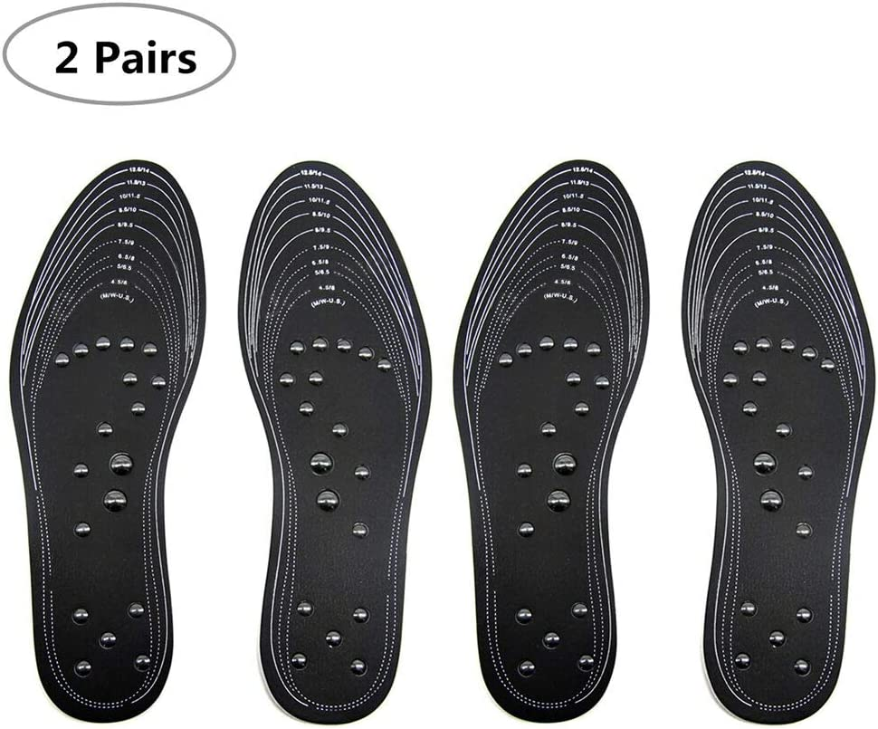 Massaging Insoles, Chiicol Upgraded Foot Insoles with 36 Pieces of Acupressure Magnetic for Pain Relief, Therapy Reflexology Massage Insoles, Support Washable and Cuttable/ 2 Pairs (Black)