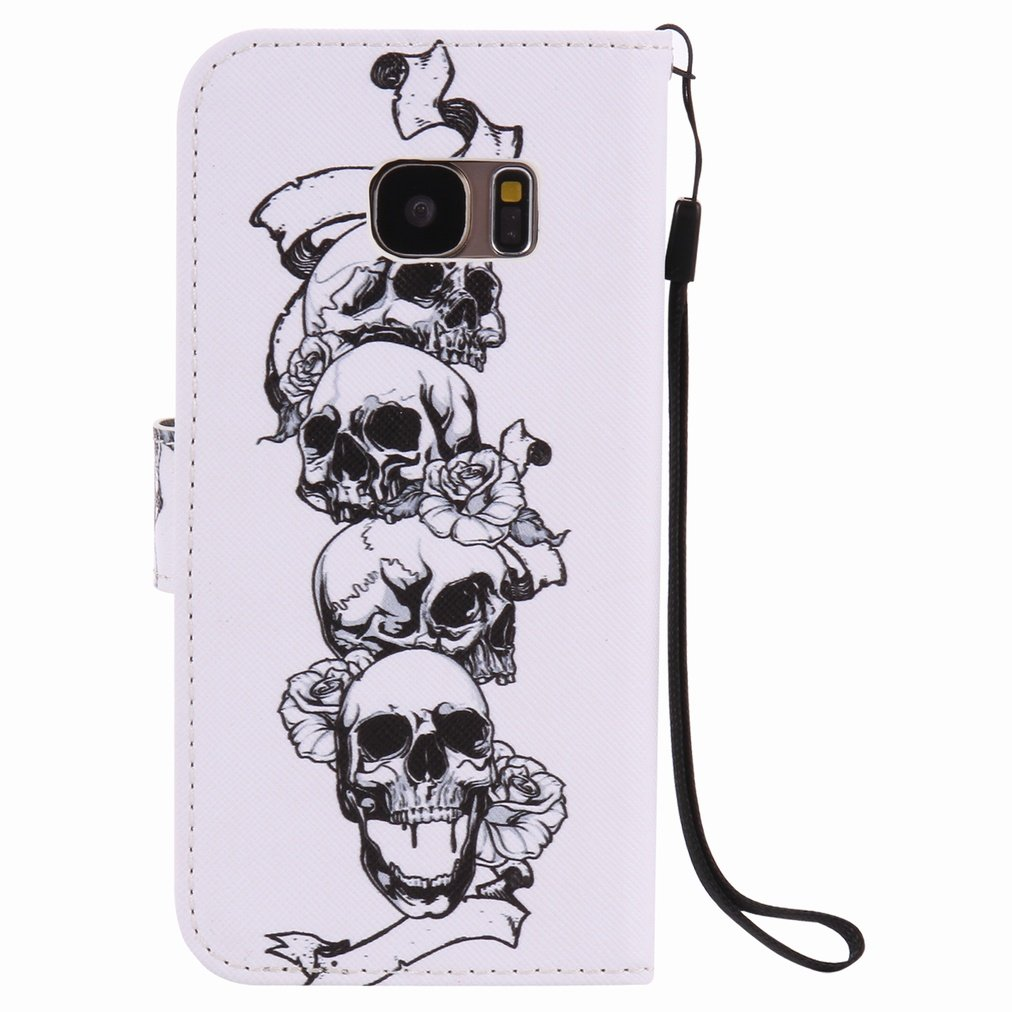 Ougger Wallet Cover Card Slot Premium PU Leather Flip Case Magnetic Bumper Pouch Holster Stand-View Function G930F Case Skull For Samsung Galaxy S7
