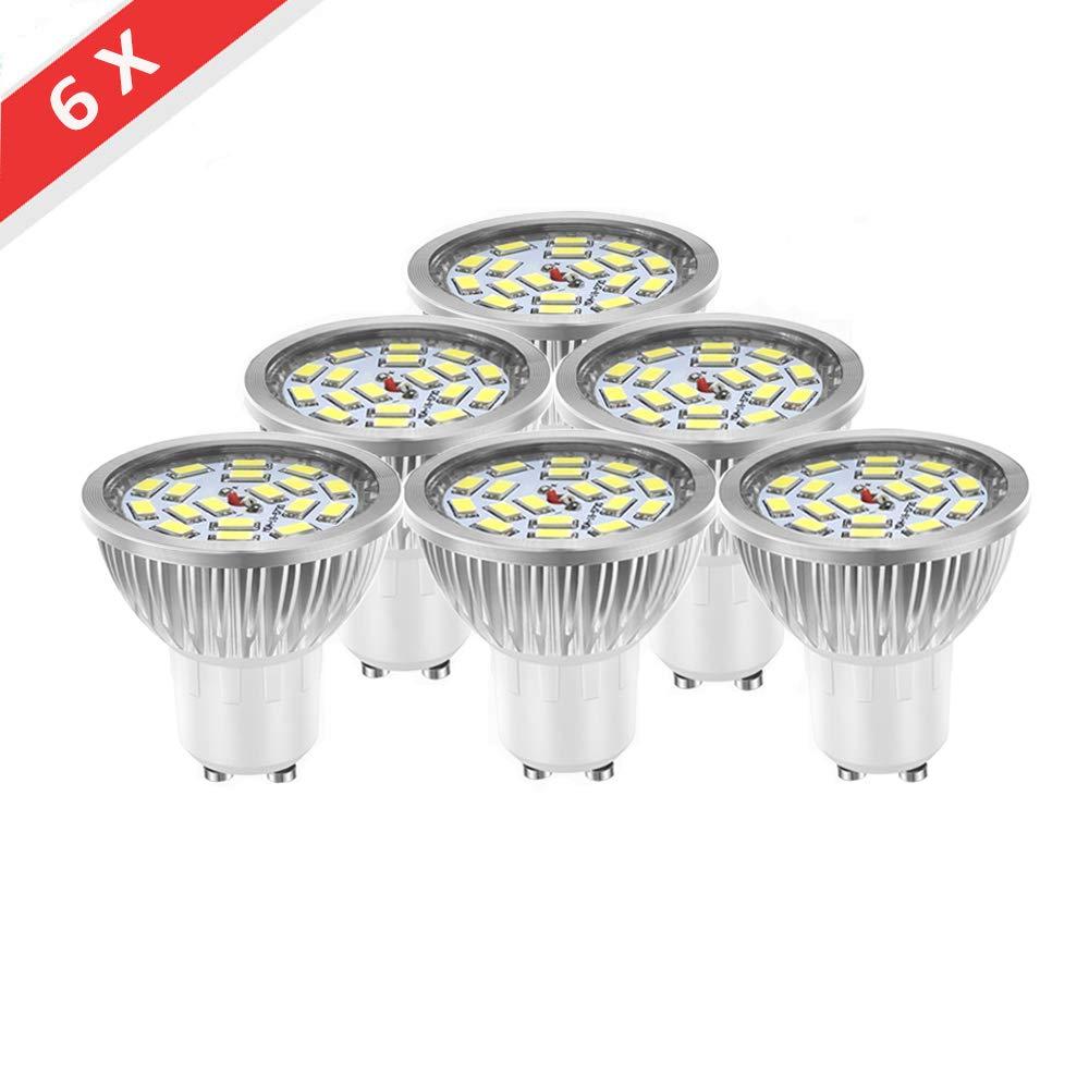 (Paquete de 6) WXY Bombillas LED GU10, Lá mpara LED de ahorro de energí a de 7W Equivalente a las bombillas haló genas de 50W, Luz LED sú per brillante 18 * 5730 SMD, CA 85-265V, Blanco frí o 6500K [Clase energé ti
