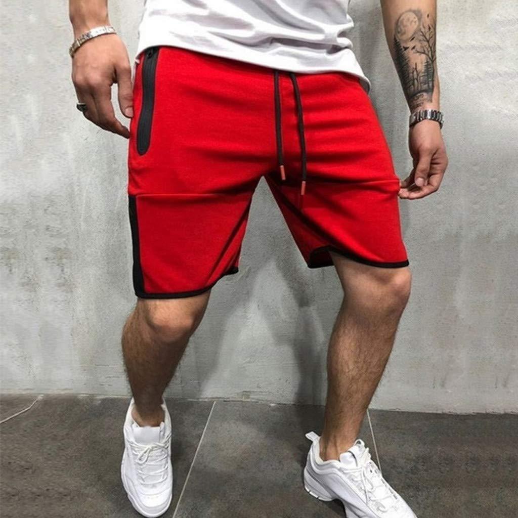 NUWFOR Men Zipper Casual Splice Stripe Beach Work Casual Men Short Trouser Shorts Pants(Red,US:S Waist25.98-29.92''') by NUWFOR (Image #2)