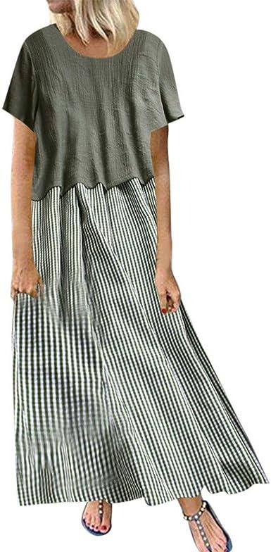 Shoesing-Women - Vestido de algodón y Lino para Mujer, Tallas ...