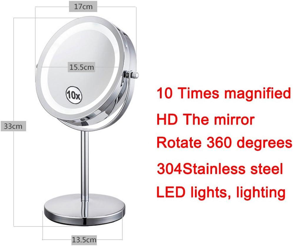 un grossissement de 10X l/éclairage LED des deux c/ôt/és LED ronde id/éale pour le rasage et le maquillage. NRG Clever/® LMR10X une rotation de 360 /° Double miroir 1X et 10X une base forte