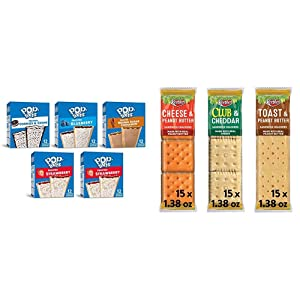 Pop-Tarts, Breakfast Toaster Pastries, Variety Pack, 6.3lb Case (60 Count) & Keebler, Sandwich Crackers, Variety Pack, Made with No High Fructose Corn Syrup, 3.881lb Case (45 Count)