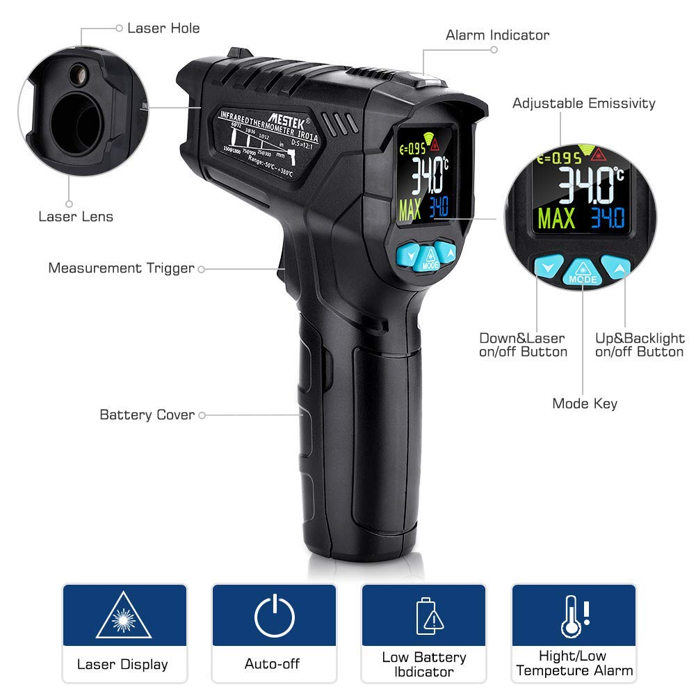 Infrared Thermometer, Non-Contact Digital Laser IR Thermometer Gun -58℉~716℉(-50℃~380℃) Adjustable Emissivity Instant-Read for Kitchen/Cooking/Automotive/Industrial with HD Backlight Color Display by YOUTHINK (Image #3)