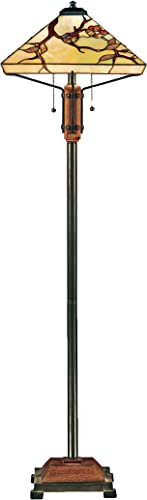 Quoizel TF9404M Grove Park Flower Tiffany Floor Lamp, 2-Light, 200 Watts, Iron with Wood Accents 61 H x 17 W
