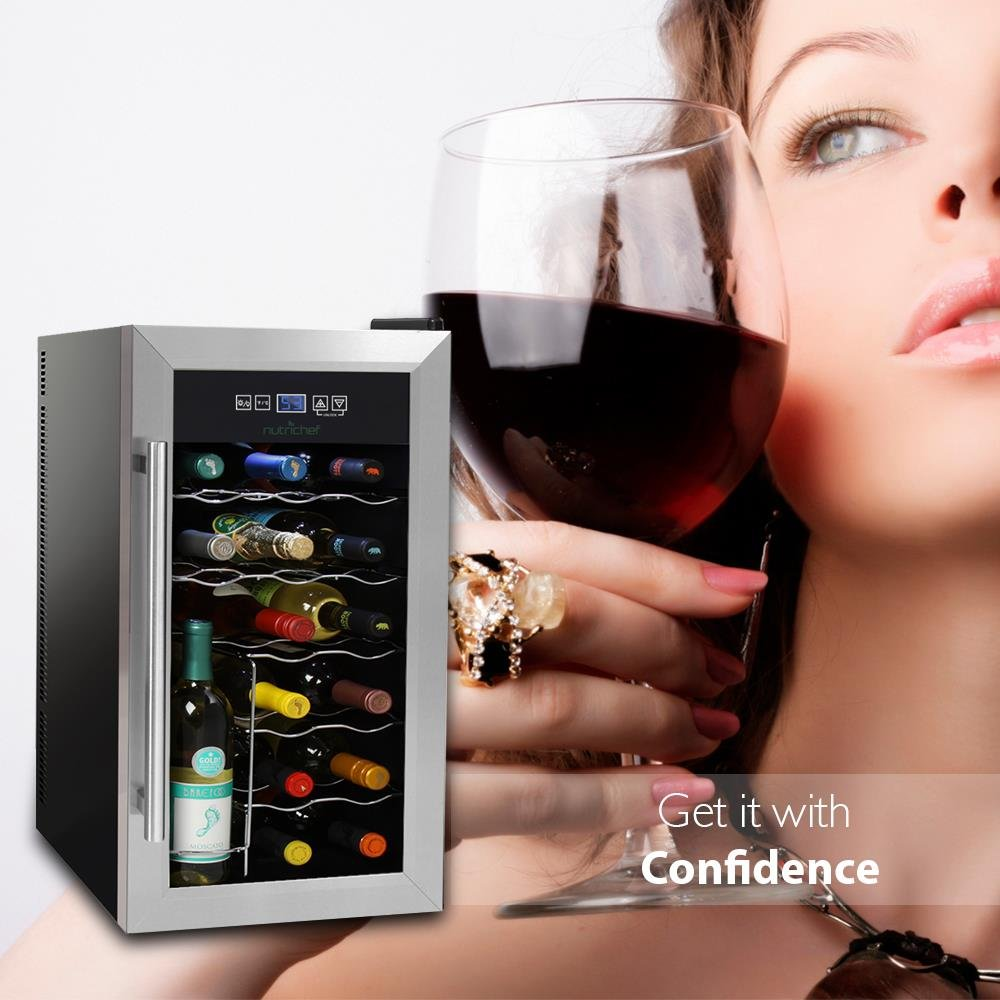 NutriChef 18 Bottle Thermoelectric Wine Cooler / Chiller | Counter Top Red And White Wine Cellar | FreeStanding Refrigerator, Quiet Operation Fridge | Stainless Steel by NutriChef (Image #6)