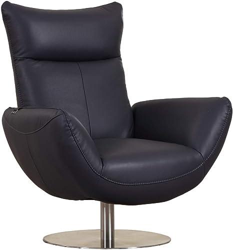 Blackjack Furniture C74 Skyline Collection Modern Italian Leather Top Grain Swivel Lounge, Chair, Navy