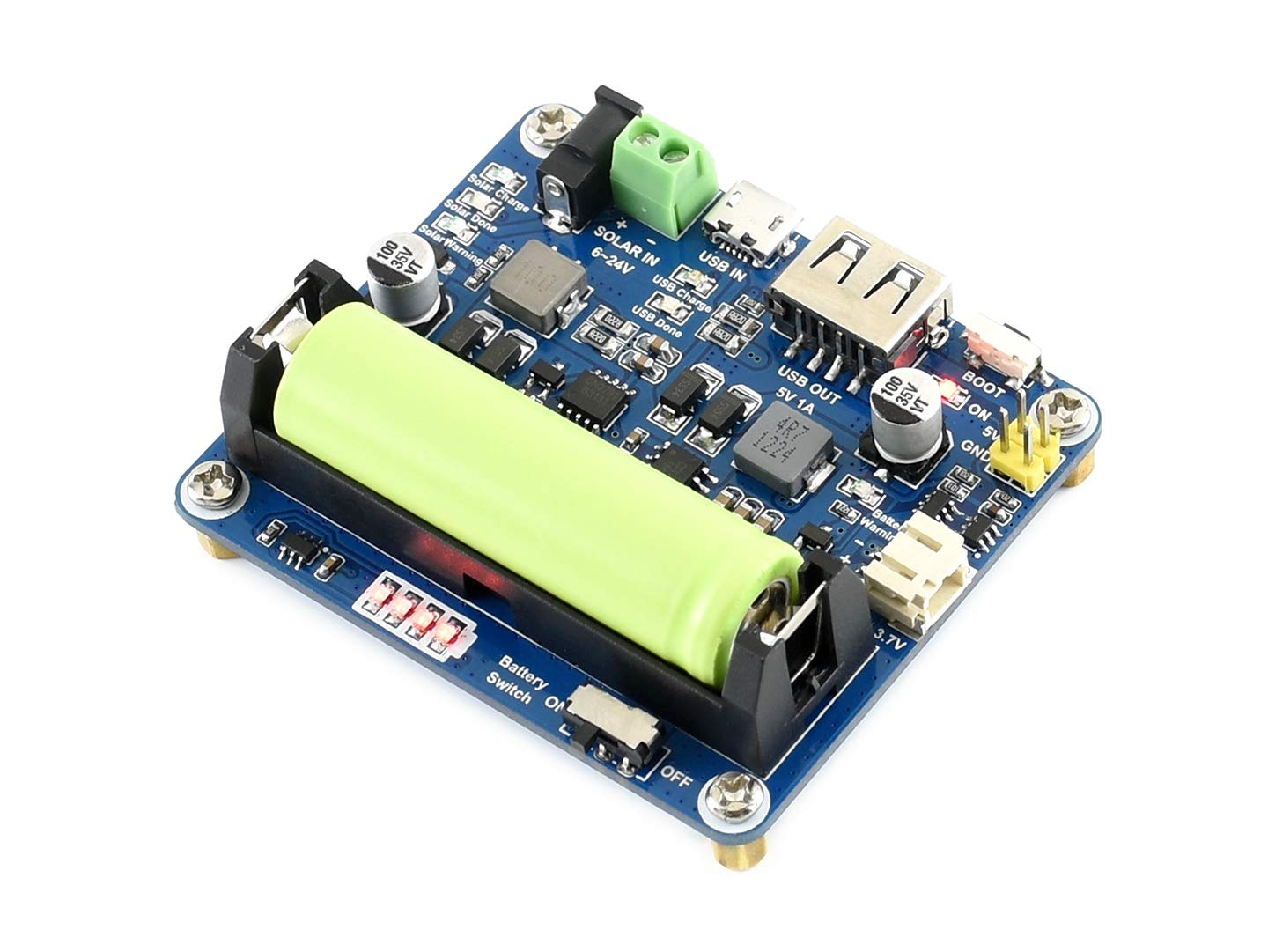 Waveshare Solar Power Management Module for 6V~24V Solar Panel with MPPT Function and Multi Protection Circuits Working with High-Efficiency Stability and Safety.