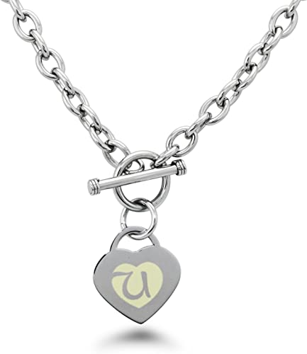 Tioneer Stainless Steel Letter O Initial Dotted Monogram Floating Heart Tag Charm Pendant Necklace