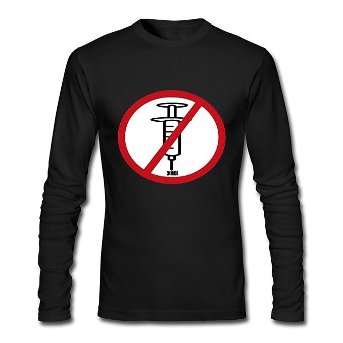Los hombres de manga larga para decir no a la heroína Outlet Negro Camisetas