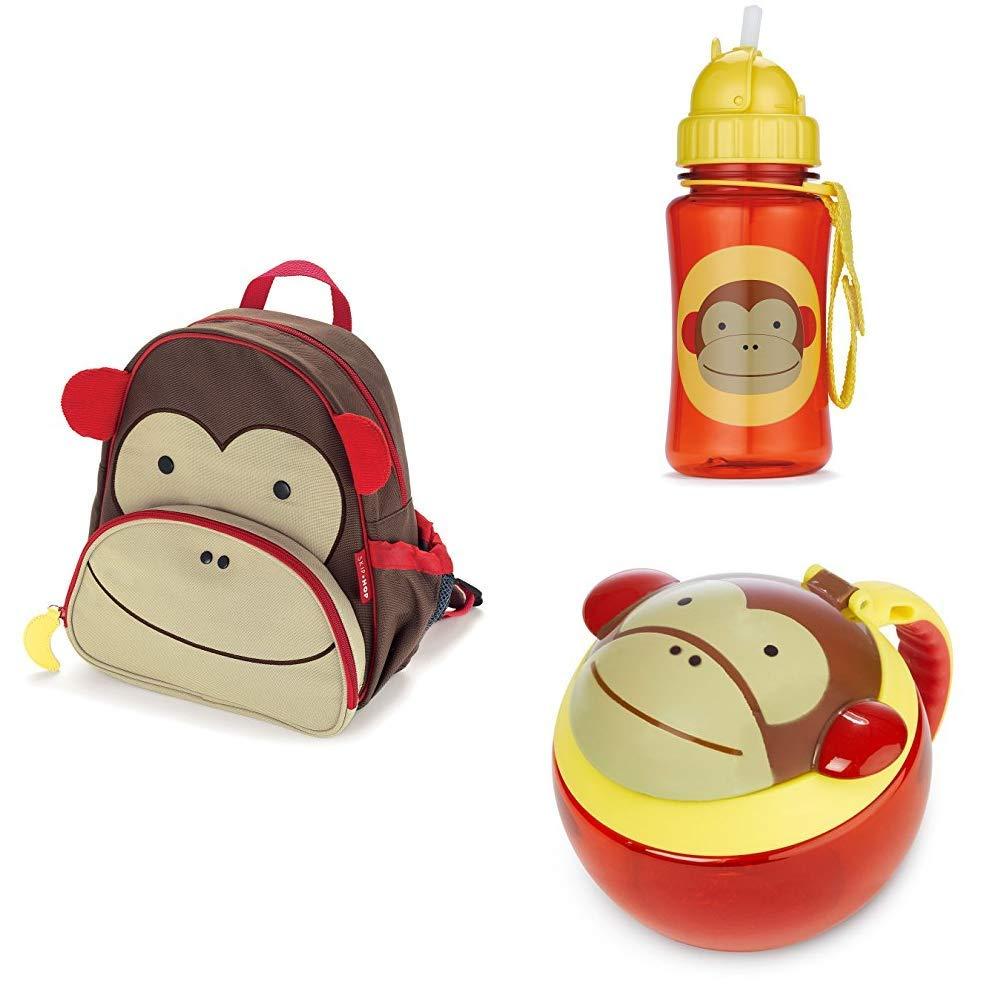 Straw Bottle and Snack Cup School Bundle Monkey Skip Hop Toddler Backpack