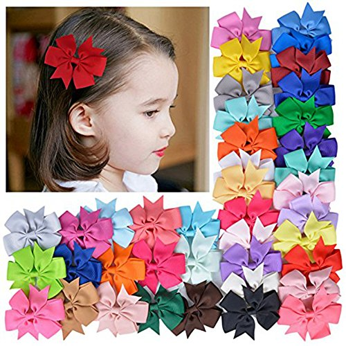 Mintbon 20pcs Baby Girls Hair Bows Boutique Alligator Clip Barrettes Ribbon Headband for Baby Girls Teens Toddlers Kids Children Headband Set Baby Bows