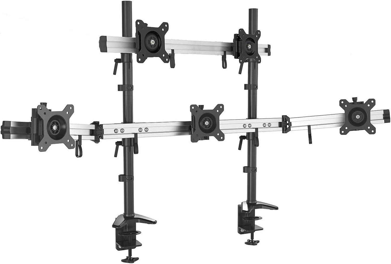 MP220C-L HFTEK/® MP220C-L Supporto da Tavolo per 2 Monitor TV Montaggio da Tavolo Supporto da scrivania Desk Mount Bracket per schermo15 a 27 Pollici con VESA 75//100