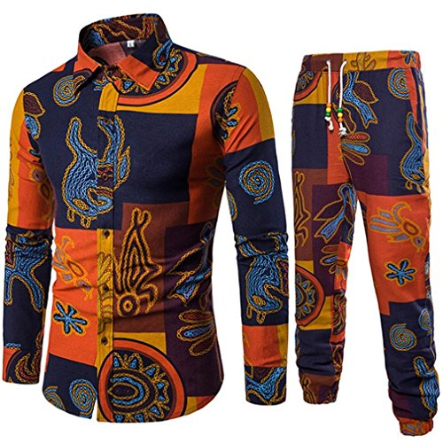 Realdo Mens Ethnic Characteristic Shirt Set, 2Pcs Business Slim Long Sleeve Fit Print Blouse Top+Pants Elastic(Yellow,XXX-Large) -