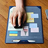 Desk Mouse Mat Pad — Multi-function PU Leather Mouse Mat Anti-slip Waterproof Desk Protector Mat with 2 Transparent Sheet for Notes Memo To-do list, 9.1'' x 12.4''