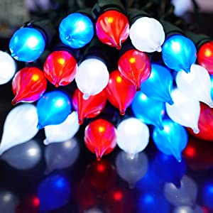 BOHON LED Christmas Mini Light Set 50 C3 Glass Bulbs Outdoor String Lights for Patriotic Decor Holiday Memorial Day Presidents Day 4th of July Decoration (Red White and Blue)