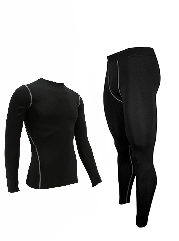 Mens Thermal Baselayer Crew Neck 2pc Long Johns Thin Underwear Set L Black
